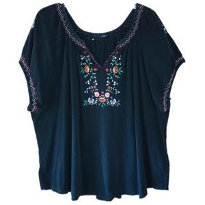 Venezia Floral Embroidered Cap-Sleeve Blouse Top